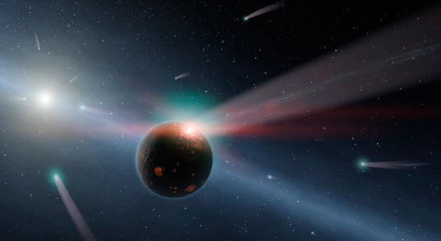 comet storm in nearby alien planet